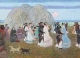 Pedro Figari. Día de Trilla, óleo sobre tela. 125 x 63 cm. C. 1923. Detalle