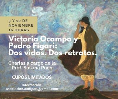 Invitación sobre imagen del retrato de Victoria Ocampo realizado por Pedro Figari