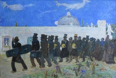 """Pedro Figari, """"Entierro"""", óleo sobre cartón, 69 x 99 cm, c. 1924. Colección MNAV"""