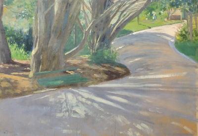 """Camino"" de Pedro Figari, un óleo sobre tabla de 35 x 45 cm firmado en 1907. Firmado Merlín"