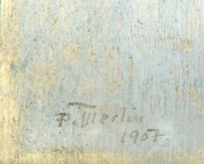 "detalle firma Merlín. ""Camino"" de Pedro Figari, un óleo sobre tabla de 35 x 45 cm firmado en 1907"