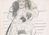 dibujo de Mujer leyendo (detalle)