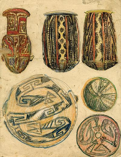 Seis bocetos de urnas y platos de la cultura santamariana, c. 1916 Atribuido a Juan Carlos Figari Castro