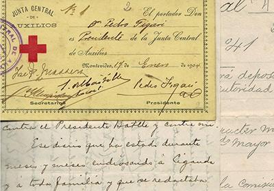 Tarjeta de Pedro Figari, Presidente de la Junta Central de Auxilios, 1904.