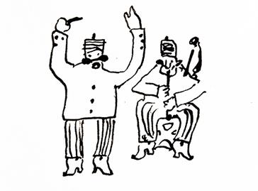 Dibujo. Pedro Figari. Cantando y tocando el peliandro 6,5 x 9,5 cm