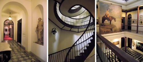 Composición de fotografías, pasillo, escalera caracol, cuadro de Artigas