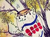 Dibujo de un tambor colgado en un árbol