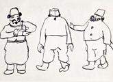 Tres kirios regateando. Tinta sobre papel. 8 x 13,5 cm. 1930