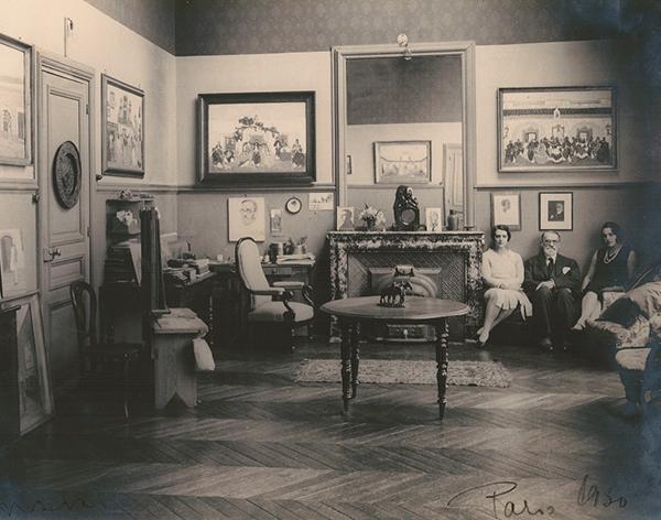 Pedro Figari con sus hijas Isabel y Emma en Paris_1930
