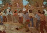 Cancha de bochas. Óleo sobre cartón 34.5 cm. x 49.5 cm. Museo Nacional de Bellas Artes (Buenos Aires, Argentina)