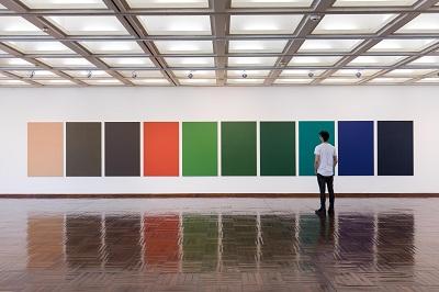 Óleo sobre tela 10 piezas 169 x 110 cm. c/u Selección de color: Mechtild Endhart Foto: Rafael Lejtreger 2016